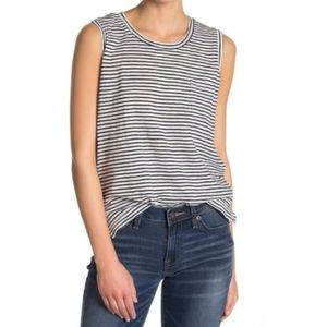 Madewell striped navy white sleeveless top Small